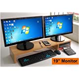"Extra Large 31.5 Inch Computer Monitor Or Laptop Stand. This Is A Long Sturdy Desktop Dual Double Or Multi Monitor Screen Riser (5.9"" Tall, Black Wood)"
