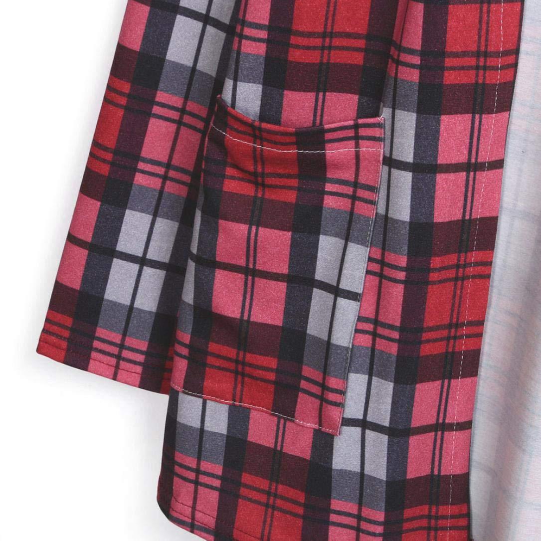 Spbamboo Womens Cardigan Lady Plaid Print Jacket Casual Long Sleeve Coat Outwear by Spbamboo (Image #6)
