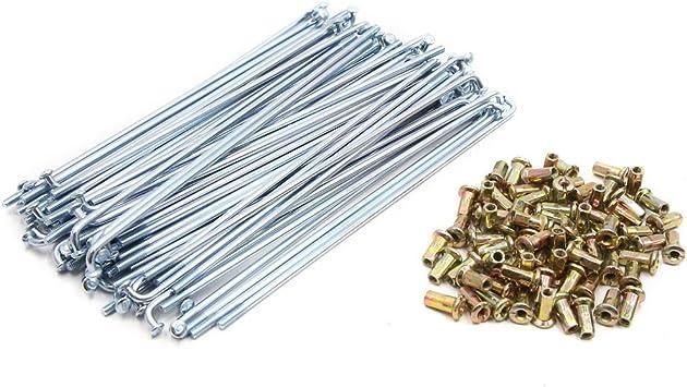 sourcing map 72pcs Silver Tone 4mm Thread Dia 160mm Long Wheel Spokes w Nipples