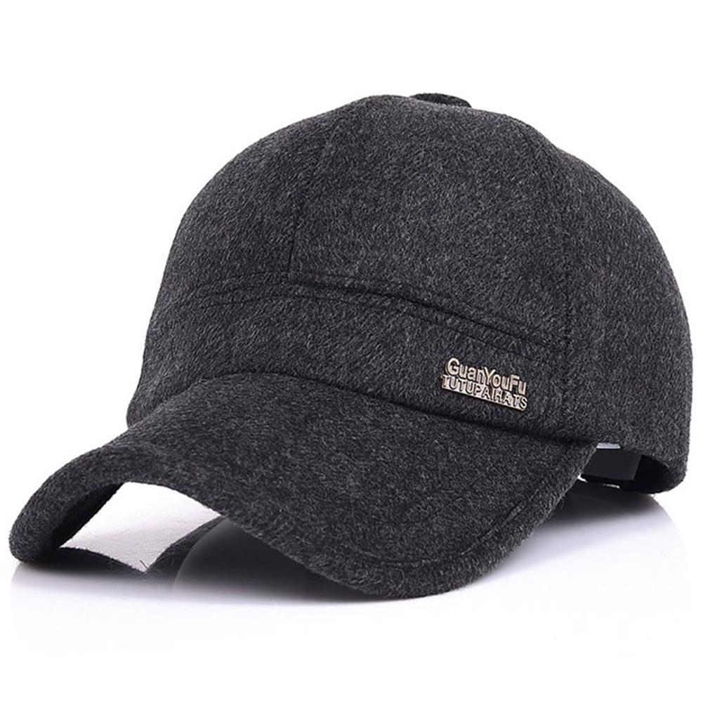 YAKER Men's Winter Warm Woolen Peaked Baseball Cap Hat Earmuffs Metal Buckle (Black)