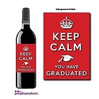 Keep Calm Graduation Congratulations Wine bottle label Celebration Gift for Women and Men.