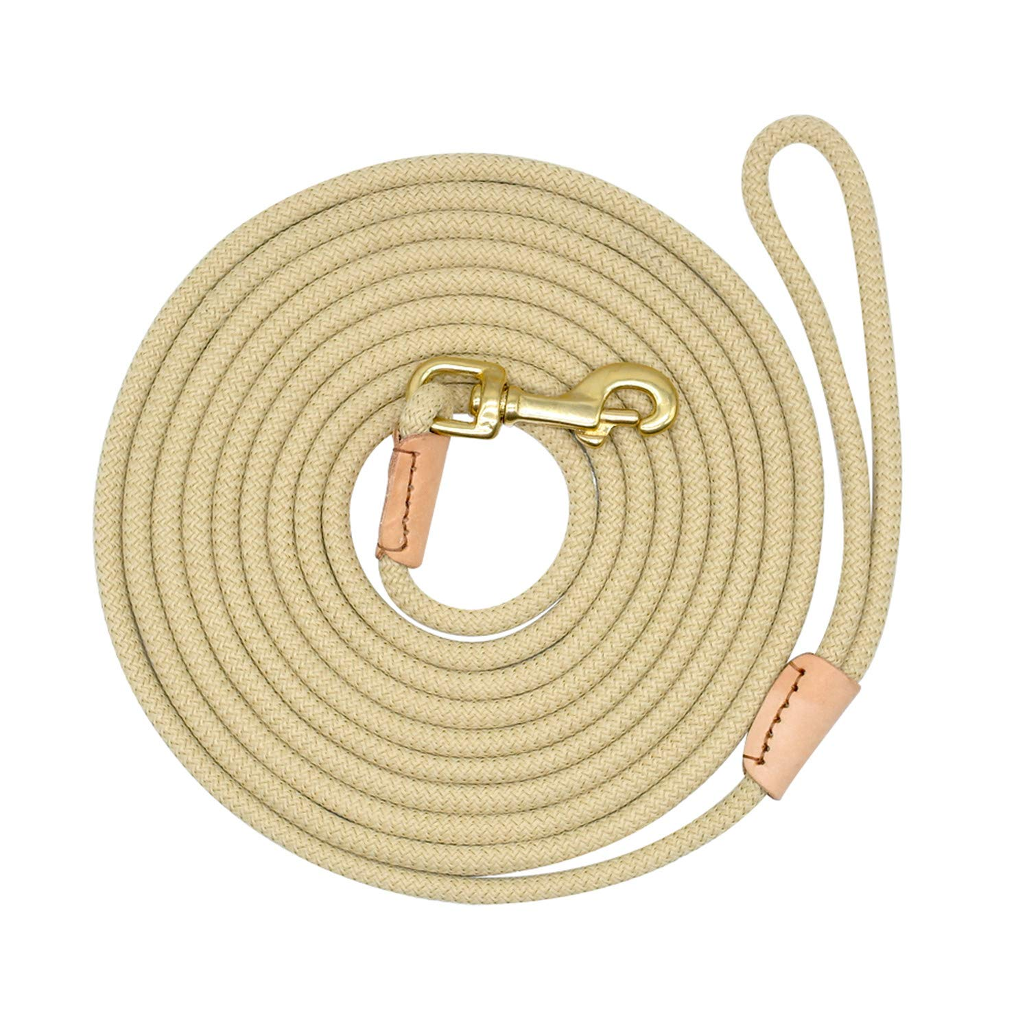 Beige 10mNylon Dog Leash Running Tracking NonSlip Long Leads Nylon Training Walking Leads 3M 5M 10M 15M for Medium Large Dogs Heavy Duty Coffee 20m