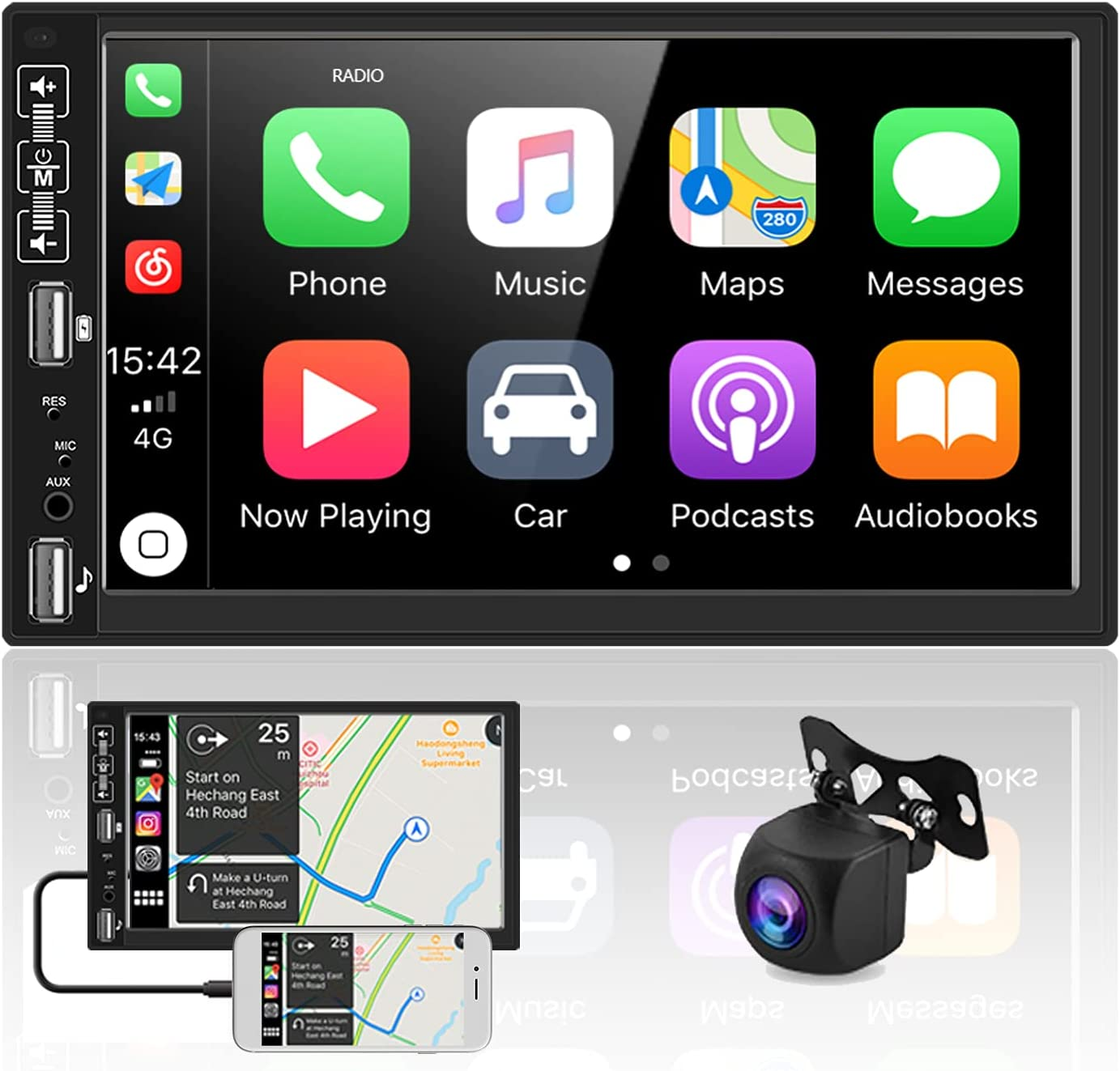 Double Din Car Stereo Audio Receivers with Apple D-Play Bluetooth AHD Backup Camera 7 Inch Touch Screen Car Radio MP5 Player Dual USB, FM Radio, Aux-in,SWC, Android/iOS Wireless Mirror Link