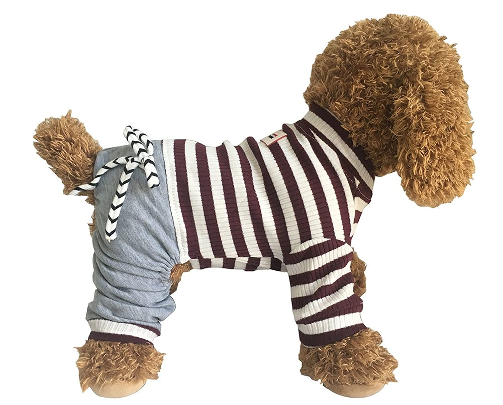 EastCities Dog ClothesSmall Dogs Pajamas Puppy OutfitBrown - 3