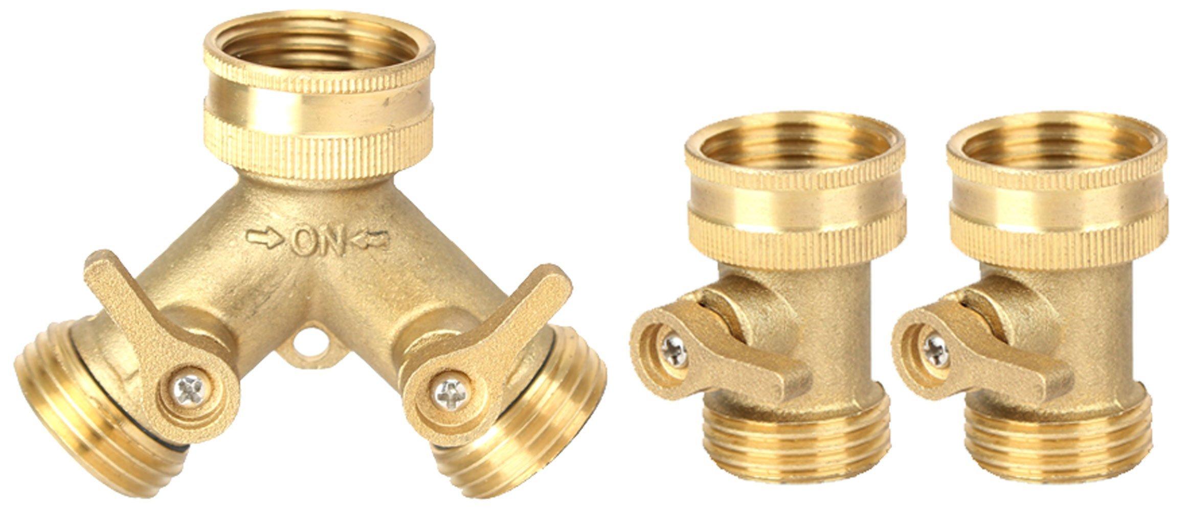 Harmony Lead Free-Garden Hose Connector (Brass Hose Splitter Shut-Off Set)