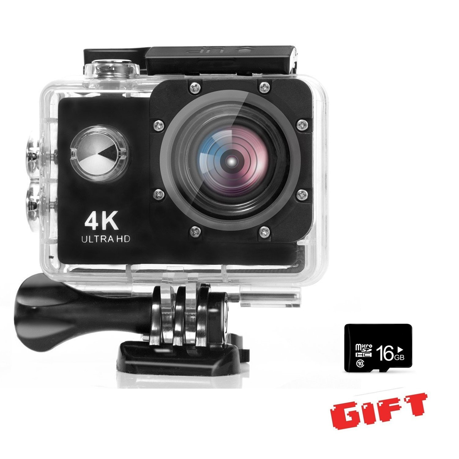 【Free 16G SD Card】Action Camera, DIGOU 4K WIFI Ultra HD Waterproof Sports Action Camera 12MP 2.4G Remote Control 170 Degree Wide Angle 2.0 Inch LCD 30m Underwater with Accessories Kits and Portable Package