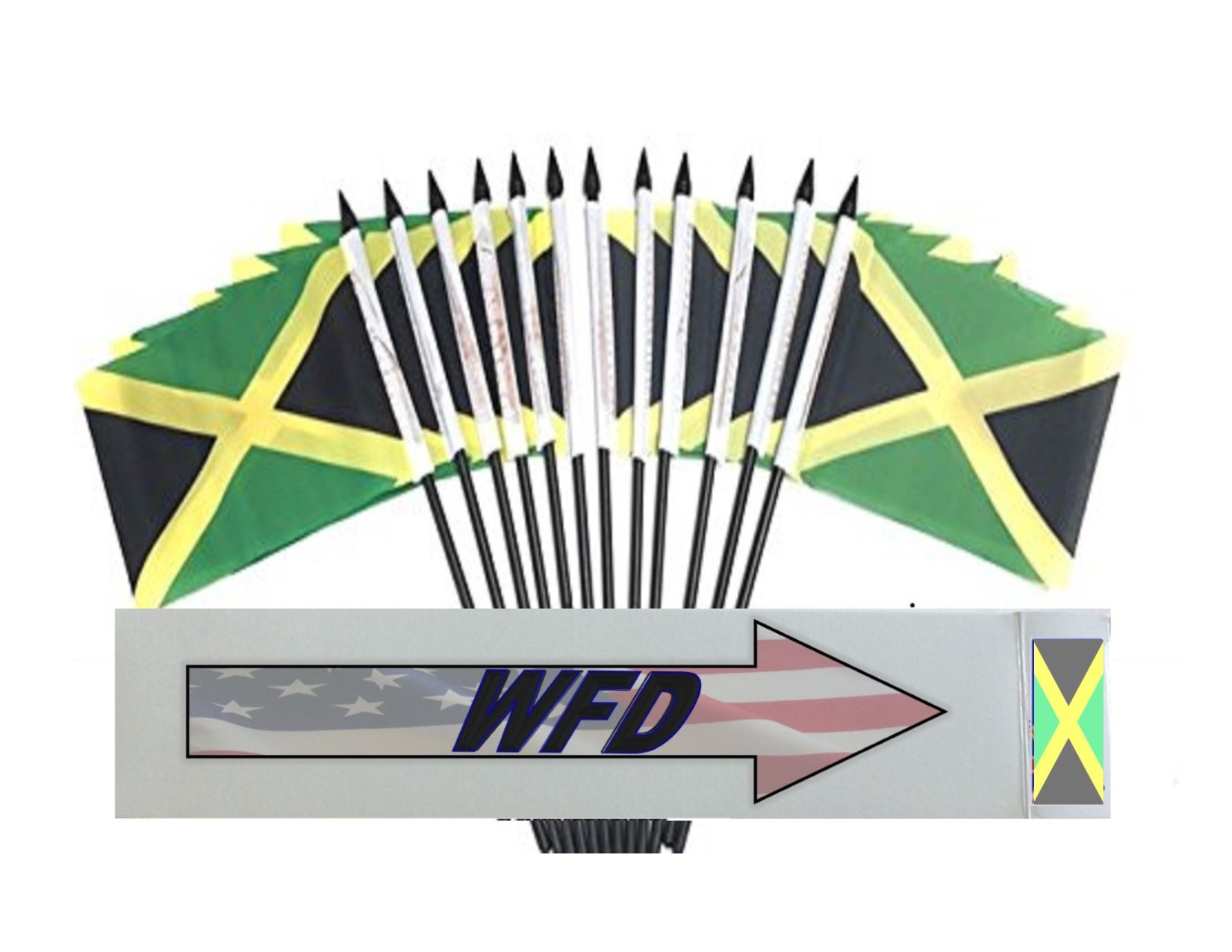 Wholesale Box of 144 4''x6'' Jamaica Polyester Miniature Desk & Little Table Flags, 12 Dozen 4''x 6'' Jamaican Small Mini Handheld Waving Stick Flag by World Flags Direct