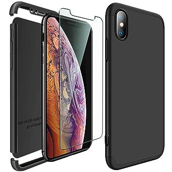 ivencase iPhone XS MAX Funda Negro + Protector de Pantalla, Carcasa Tapa Prima Híbrido Rugged 3 en 1 Duro Anti-rasguños Mate PC Back Bumper de ...