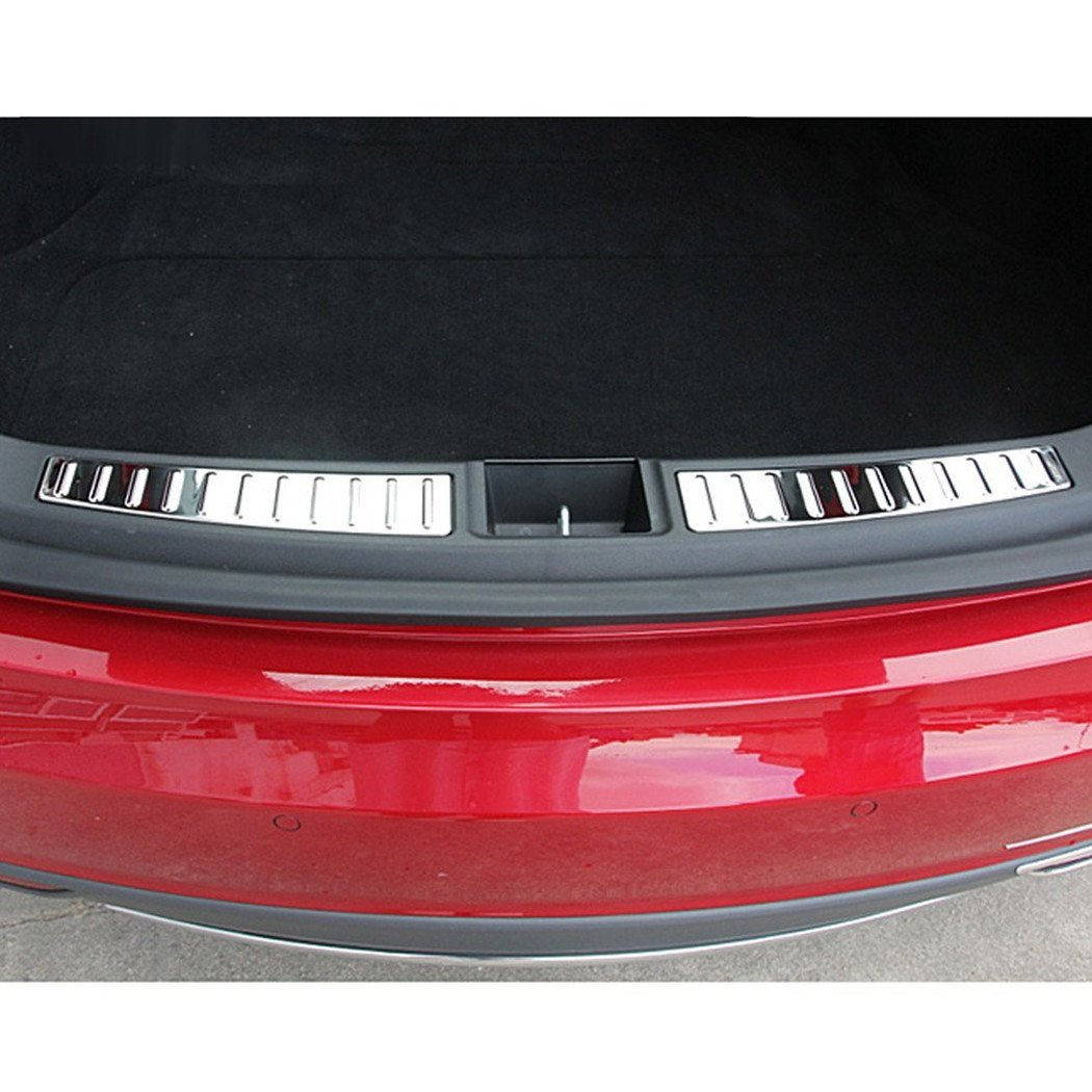 Car Rear Chrome Trim Insert Rear Trunk Chrome Sill Insert Compatible Tesla Model S 2012-2019
