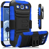 Galaxy S3 Case, Venoro [Heavy Duty] Armor Holster Defender Full Body Protective Hybrid Case Cover with Kickstand & Belt Swivel Clip for Samsung Galaxy S3 S III I9300 (Black+Blue)