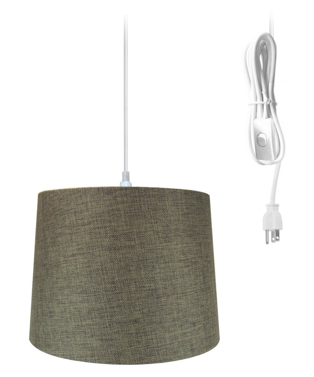 Plug In Pendant Light By Home Concept Hanging Swag Lamp White Drum Ceiling No Wiring Shade Perfect For Apartments Dorms