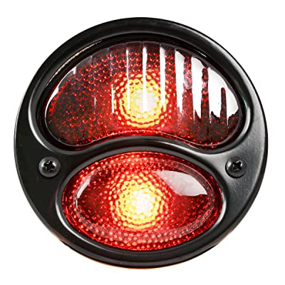 KNS Accessories KA0023 Black 12V Duolamp Tail Light for Ford Model A with Red Glass Lens and License Light: Automotive