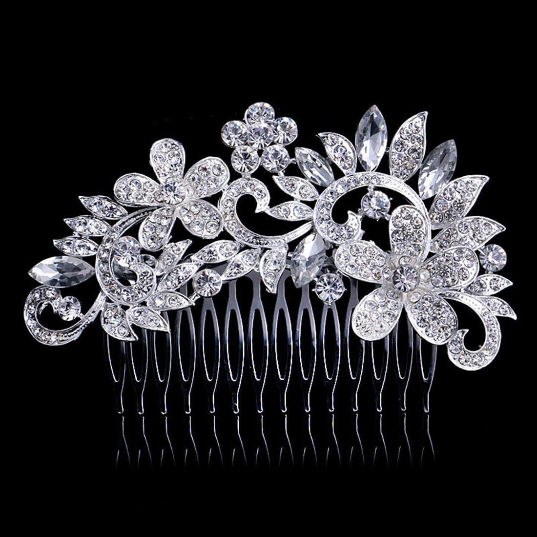 Dooppa Peigne /à cheveux avec fleurs et strass pour femme Pour un mariage