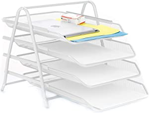Mind Reader 4TPAPER-WHT 4 Tier Letter Tray Pull Out Drawer Organizer, Folders, Files, Documents, Mail, White
