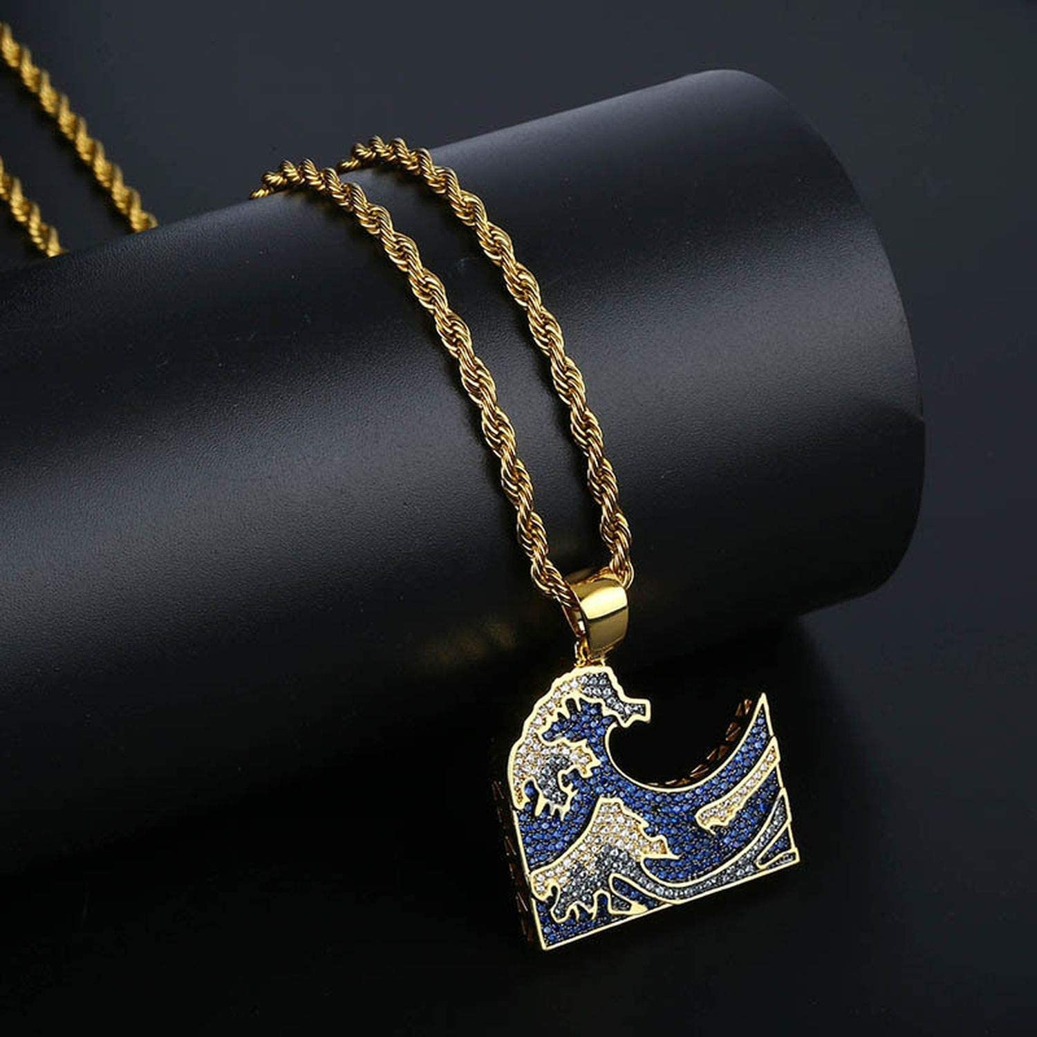 Iced Out Ocean Waves Pendant Necklace Hip Hop Jewelry Cubic Zirconia Mens Necklace