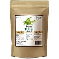 Just Jaivik 100% Organic Tulsi Powder Holy Basil Powder- Ocimum Sanctum- 0.5 Lb / 227 G 1/2 Pound- Usda Organic Certified - An Ayurvedic Adaptogen