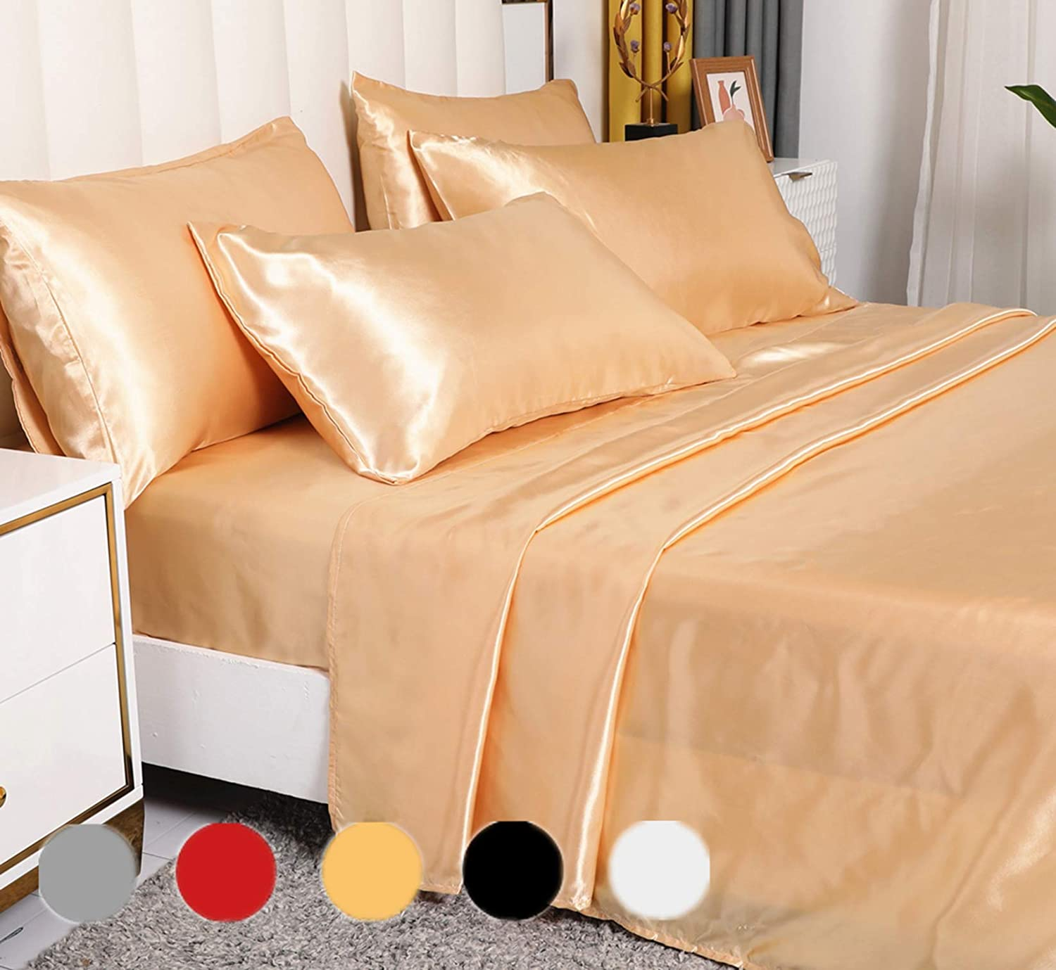 6 Pieces Silk Bed Sheet Set Luxury Rich Satin Smooth And Silky With Deep Pocket Fitted Sheet Solid Color Ultra Soft Hypoallergenic Reversible Stain Resistant Queen Champagne Kitchen Dining