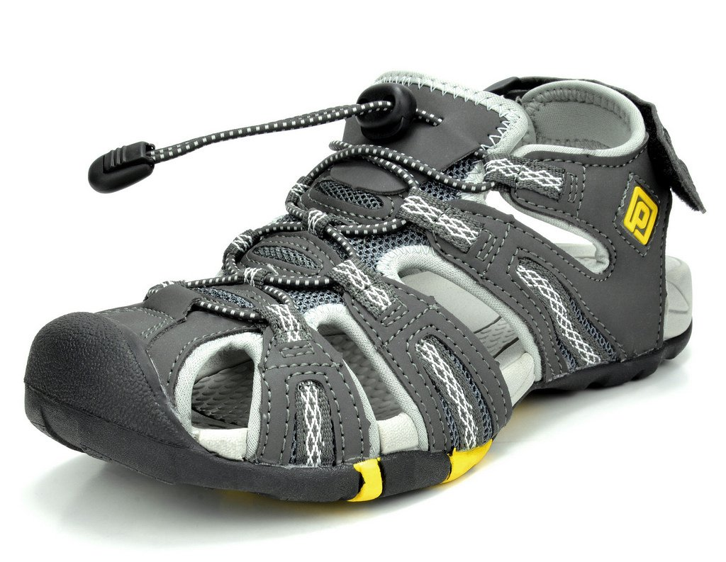 DREAM PAIRS Women's 160912-W Adventurous Summer Outdoor Sandals B01N5CIUJO 5 M US Dk.grey Grey Yellow