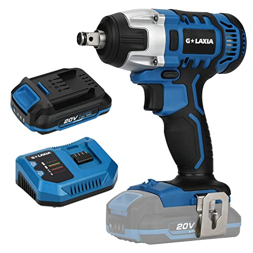 Cordless Impact Wrench, GALAXIA 20V Max Electric Impact Wrench with 220 Nm Max Torque, 3300 Max IPM, 2600 RPM, 1 2 Inch Anvil 2.0 Ah Battery, Fast Charger Included for Loosening or Tightening Bolts