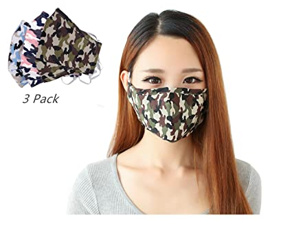 f8be6d733 3 Pcs Top Quality Unisex Activated Carbon Cotton Mouth Mask Comfortable Anti  Dust Face Mask Camouflage