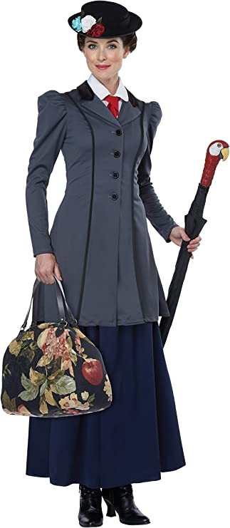 1900s, 1910s, WW1, Titanic Costumes California Costumes Womens English Nanny - Adult Costume Adult Costume Gray/Navy Extra Small $79.99 AT vintagedancer.com