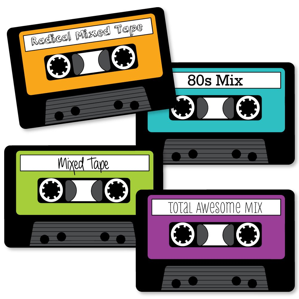 80's Retro - Cassette Tape DIY Totally 1980s Party Essentials - Set of 20 by Big Dot of Happiness
