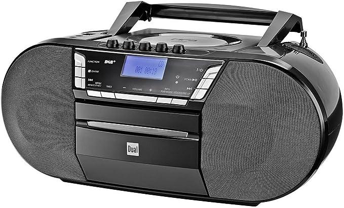 Dual Dab P 200 Kassettenradio Mit Cd Dab Ukw Radio Boombox Cd Player Stereo Lautsprecher Usb Anschluss Aux Eingang Netz Batteriebetrieb Tragbar Schwarz Audio Hifi