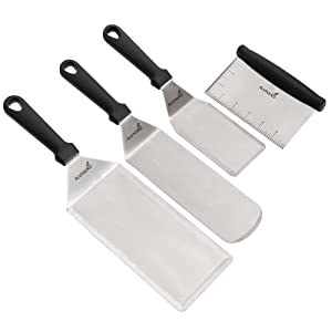 Stainless Steel Metal Spatula Set - Griddle Scraper Flat Spatula Pancake Flipper Hamburger Turner - Metal Utensil great for BBQ Grill Flat Top Cast Iron Griddle Accessories - Commercial Grade
