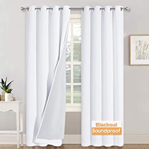 RYB HOME Soundproof Blackout Thermal Insulating 3 in 1 Set Curtains 3 Layers Heavy Grommet Curtains for Bedroom Living Room Divider Curtains High Ceiling Window, Pure White, 52 x 108 inches, 2 Pcs