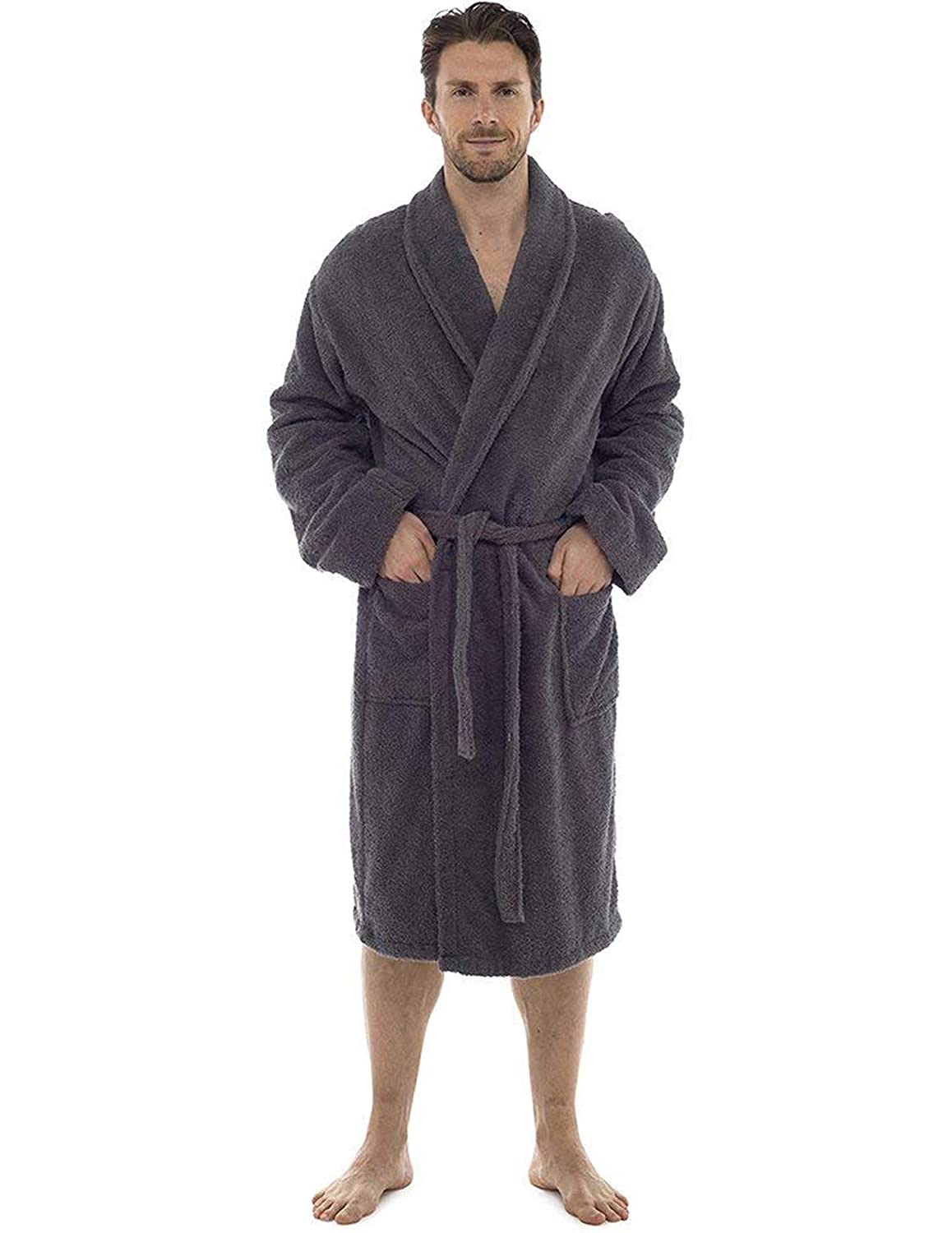 Men Towelling Robe 100% Cotton Terry Towel Bathrobe Dressing Gown ...