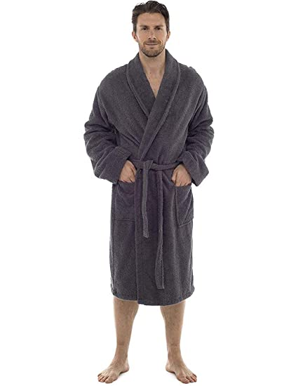 Men Towelling Robe 100% Cotton Terry Towel Bathrobe Dressing Gown Bath  Perfect for Gym Shower Spa Hotel Robe Holiday  Amazon.co.uk  Clothing ad5aaed6f