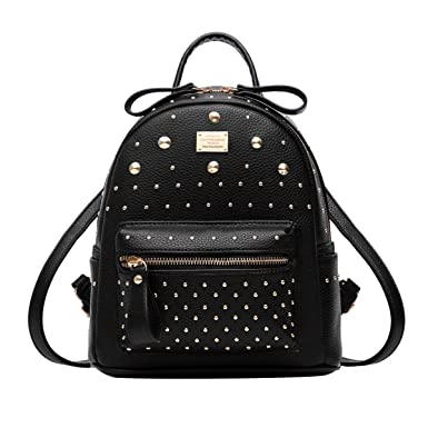 54a4f1640d25 ABage Women s Mini Backpack Purse Casual Rivet Studded PU Leather Daypack  Backpack