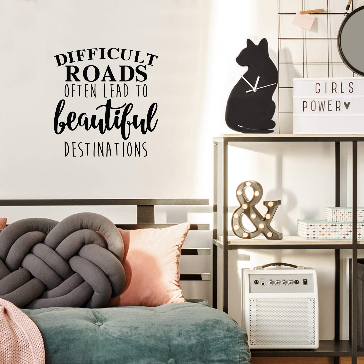 "Vinyl Wall Art Decal - Difficult Roads Often Lead to Beautiful Destinations - 23"" x 22"" - Cute Positive Inspirational Good Vibes Quote Sticker for Bedroom Living Room School Coffee Shop Decor (Black)"