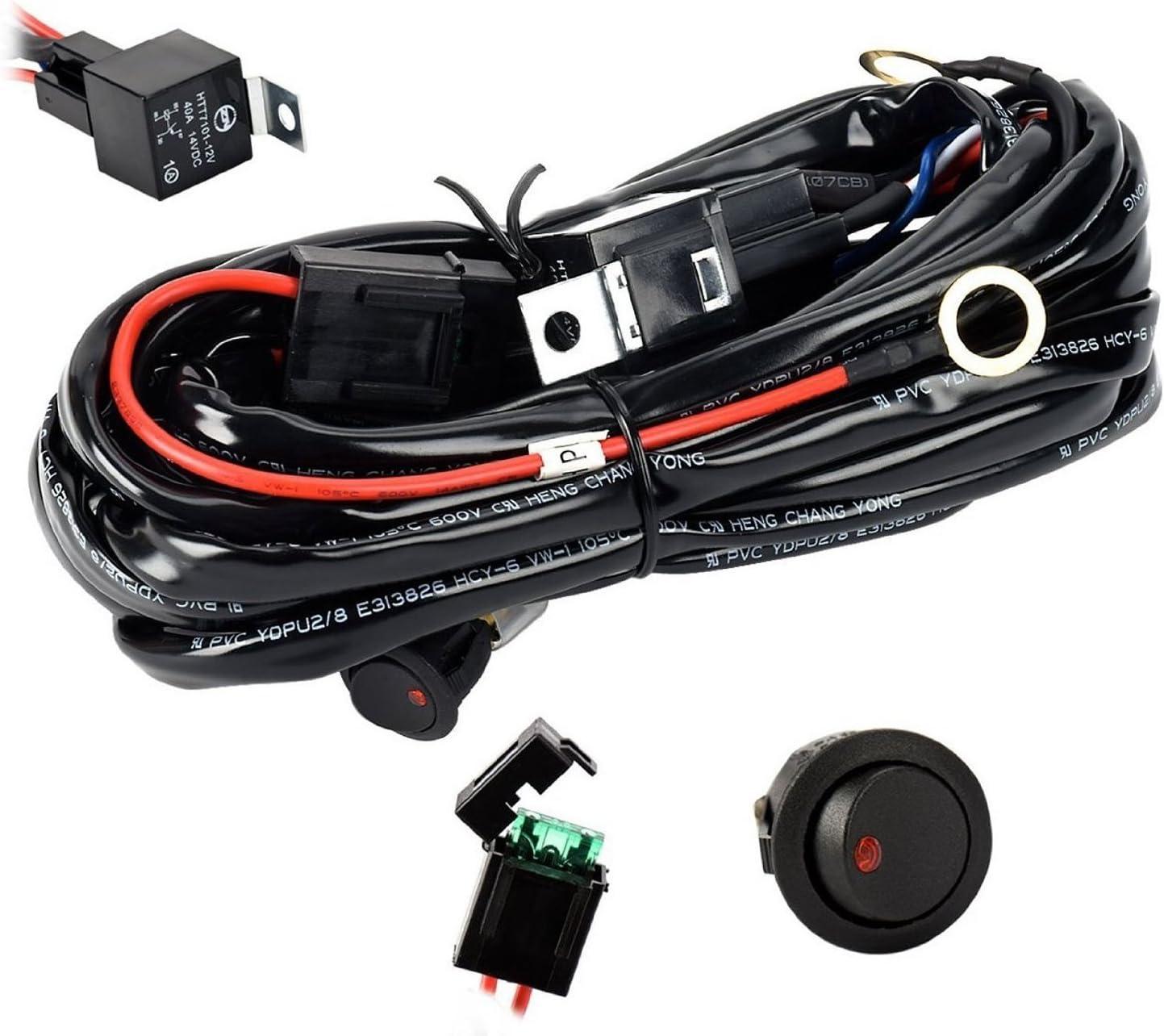 Eyourlife Kabelbaum Kabelsatz Relais Adapter Für 300w Kfz Scheinwerfer Arbeitsscheinwerfer Tagfahrleuchten Lichtleisten 12v 40a Auto