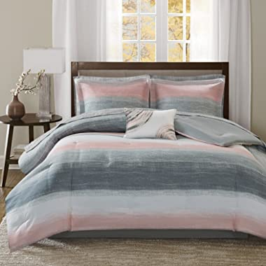 Madison Park Saben Complete Comforter and Cotton Sheet Set Blush Queen
