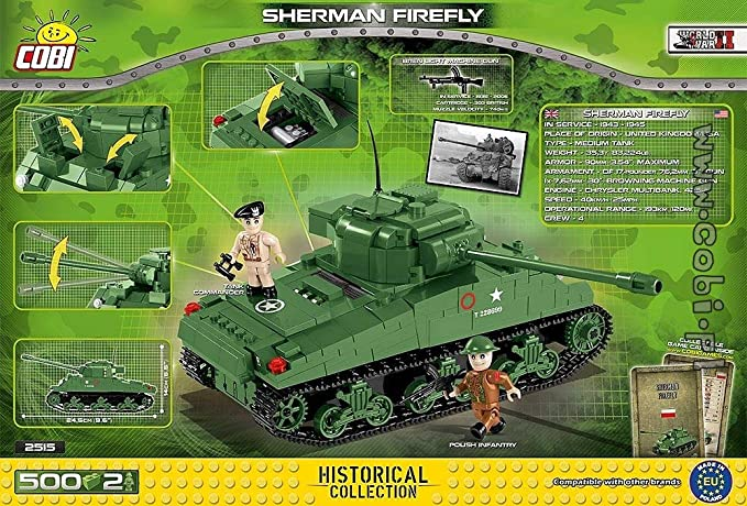 COBI®US PanzerShermann Firefly500 Teile