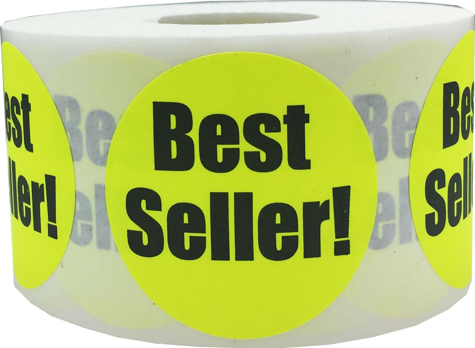 Fluorescent Yellow with Black Best Seller Stickers, 1.5 Inches Round, 500 Labels on a Roll