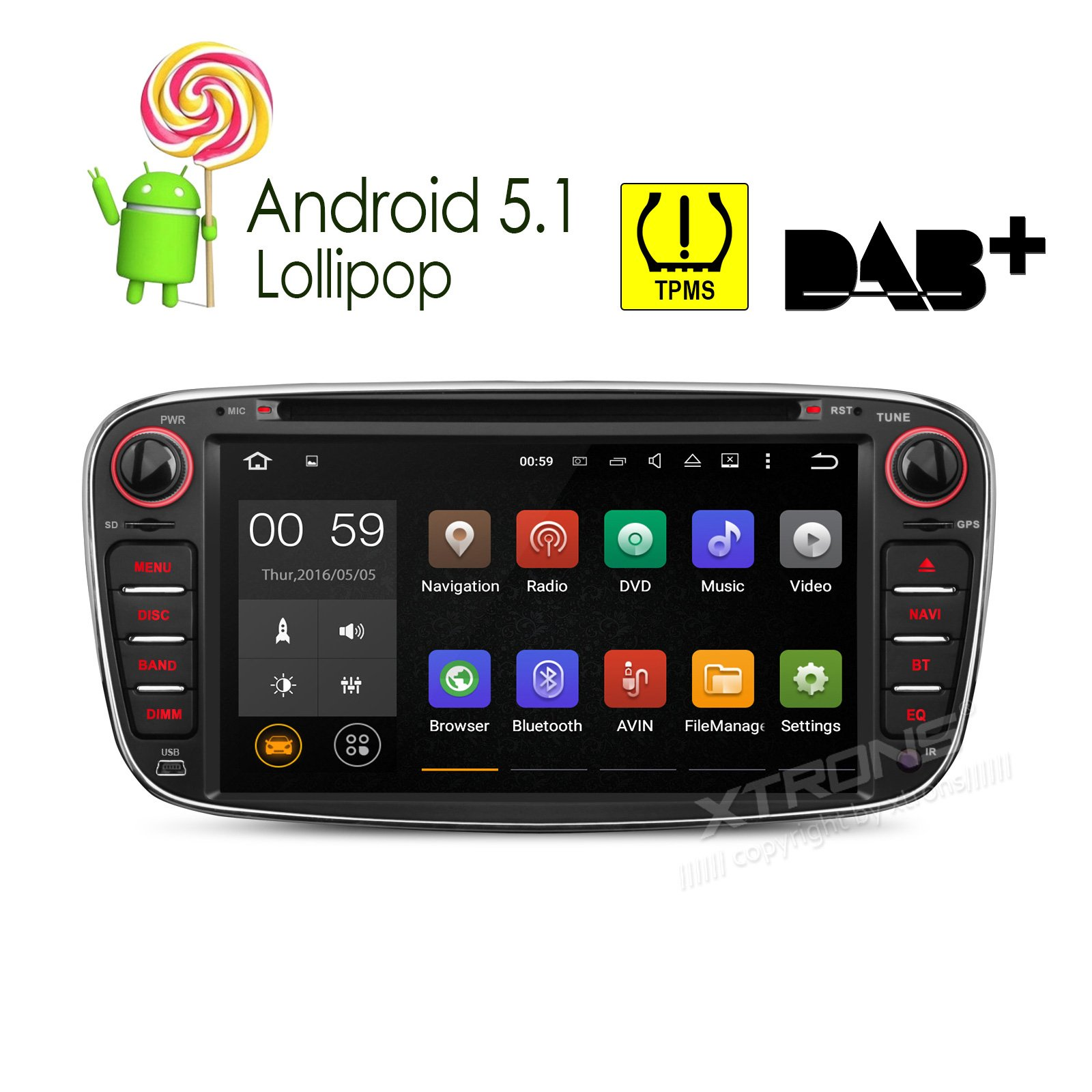 XTRONS Quad Core 7'' Android 5.1 Lollipop Car CD DVD GPS 2 DIN Stereo Radio Tire Pressure Monitoring for Ford FOCUS