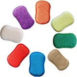 Antibacterial Microfiber Kitchen Scouring Pads Double Side Sponges Scourer Non Odor Dish Scrubber Brush, Great for Non Stick Pans Pots, Pack of 5 Random Colors