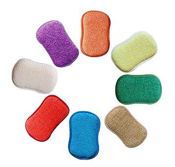 Estropajo Estropajo de cocina de doble cara esponjas de microfibra antibacteriano sin olor Dish Scrubber Cepillo, ideal para antiadherente sartenes ollas, ...
