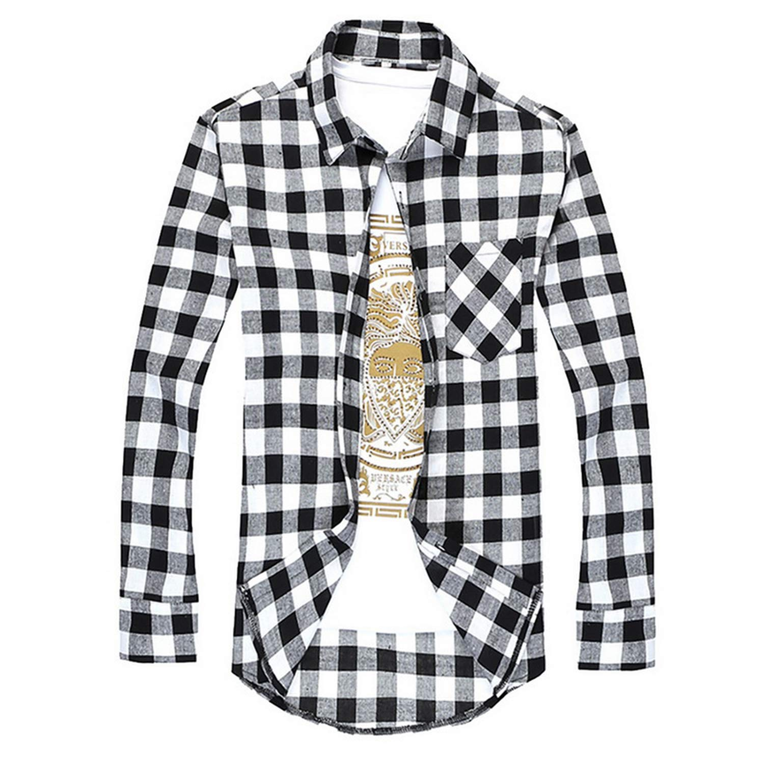 Men Checkered Shirt Button Chemise Long Sleeve Casual Shirts,Purple,L,United States