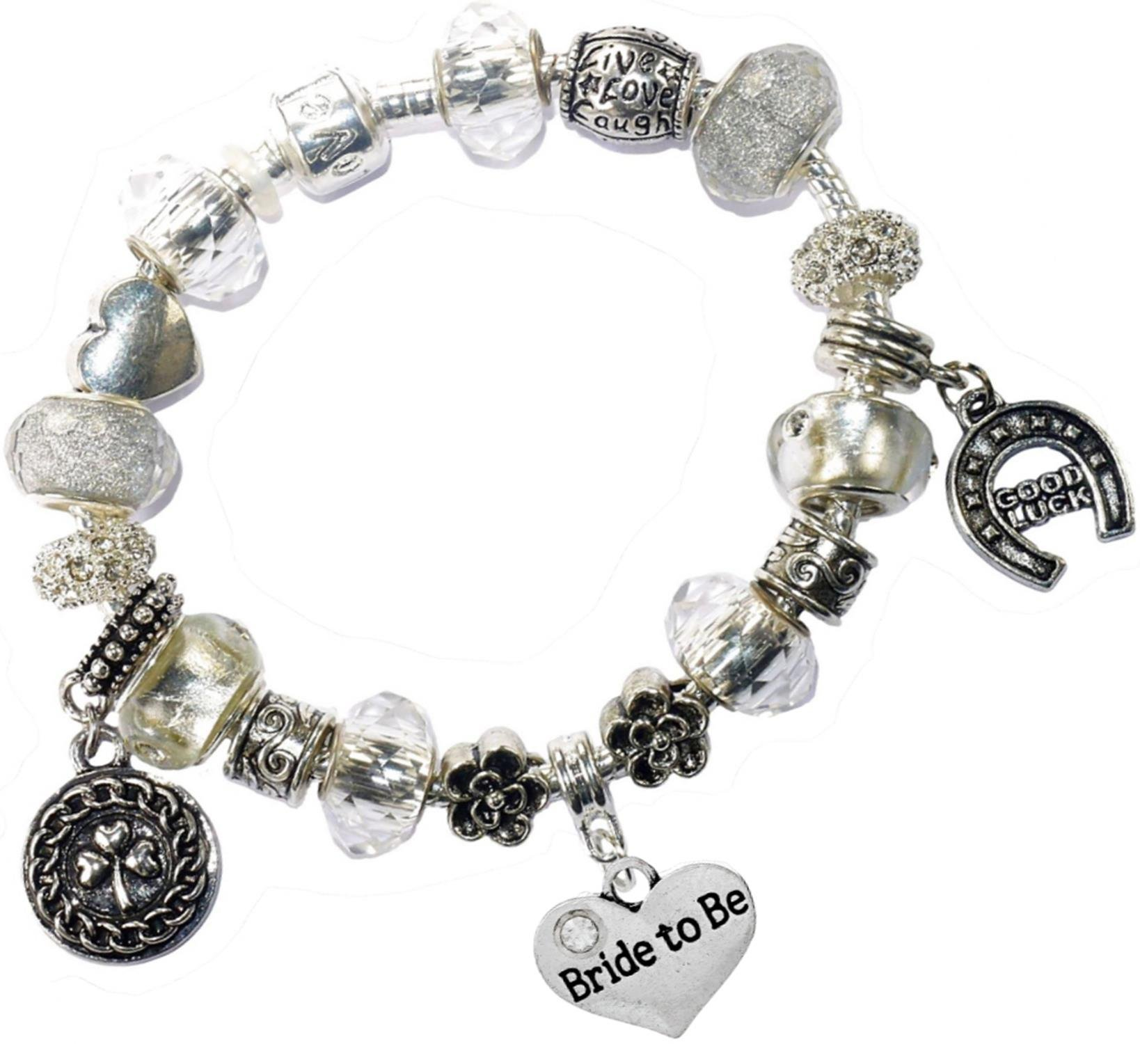 Charm Buddy Bride To Be Bridal Good Luck Lucky Iced Silver Pandora Style Bracelet Charms Gift Box Wedding