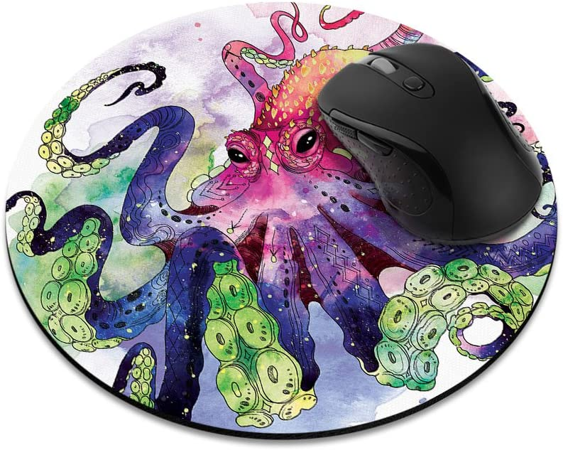 Non-Slip Round Mousepad, FINCIBO Colorful Octopus Mouse Pad for Home, Office and Gaming Desk