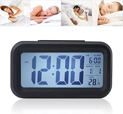 Amazon Com Digital Alarm Clock With Sensor Light Date