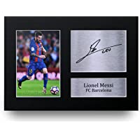 Lionel Messi Les Cadeaux Ont Signé A4 L'Autographe Imprimé Barcelona Affichage de Photo