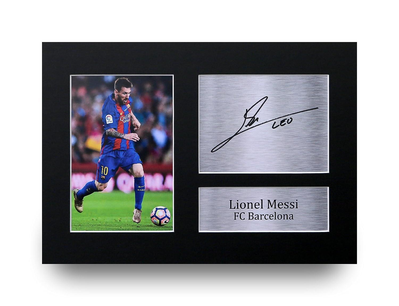 Lionel Messi Los Regalos Firmaron A4 la Dedicatoria Impresa Barcelona Demostración de Foto: Amazon.es: Hogar