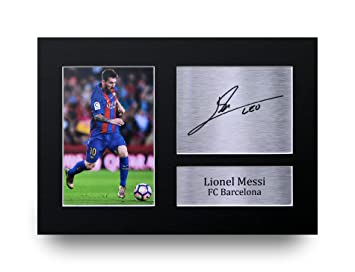 HWC Trading Lionel Messi Gift Signed A4 Printed Autograph Barcelona Gifts  Photo Display