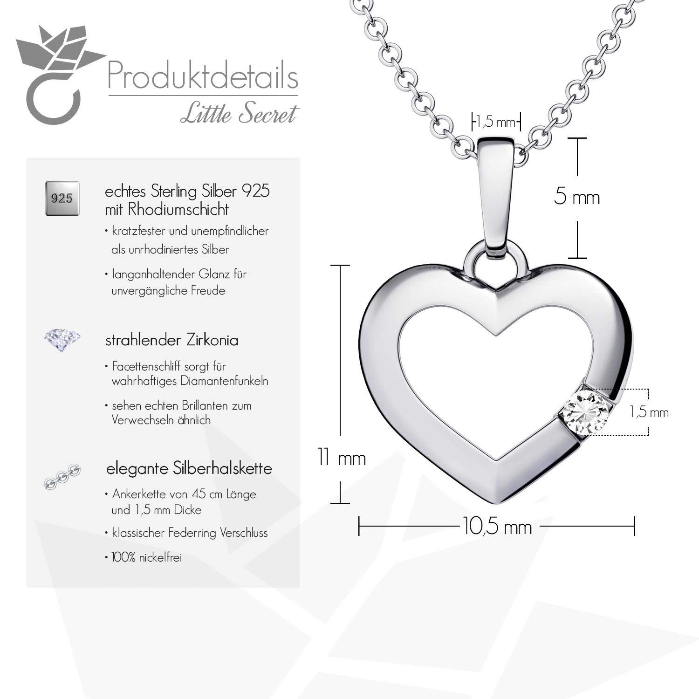 Herzkette Silber 925 ❤ Damenkette mit Herz-Anhänger Gravur Zirkonia  Silberkette Frauen Damen Echt-Silber Halskette Ketten-Anhänger Geschenke ... e9a758564c
