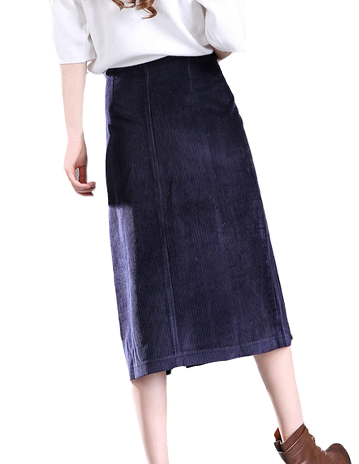 7437df38b5 Johe Women's Cotton Corduroy Double Slits Front Zipper Midi Skirts:  Amazon.ca: Clothing & Accessories