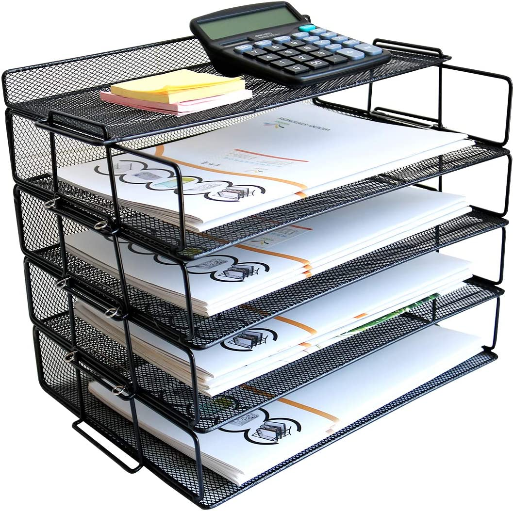 4 Tier Reinforce Stackable Paper Document Letter Tray Desk Organizer, New Design Metal Mesh File Holder Organizer for Home Office School, Folders Letters Paper Storage